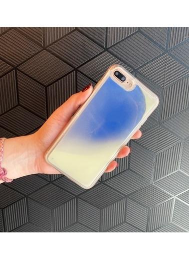 MobilCadde iPhone 11 Neon Kumlu Mavi Silikon Kılıf Mavi